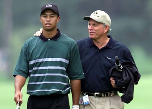 Tiger Woods, left, and Butch Harmon during their time working together