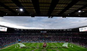 A general view of Twickenham before the opening ceremony of the Rugby World Cup at Twickenham Stadium, London. PRESS ASSOCIATION Photo. Picture date: Friday September 18, 2015. See PA story RUGBYU England. Photo credit should read: Andrew Matthews/PA Wire. RESTRICTIONS: Editorial use only. Strictly no commercial use or association without RWCL permission. Still image use only. Use implies acceptance of Section 6 of RWC 2015 T&Cs at: http://bit.ly/1MPElTL Call +44 (0)1158 447447 for further info.