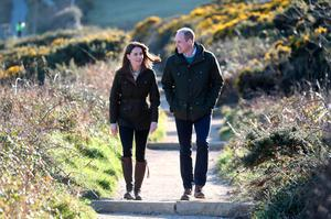 Stroll: William and Kate on the cliff walk during a visit to Howth Head in Co Dublin. Photo: Chris Jackson/PA Wire