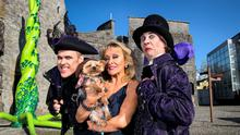 Richard Lynch as Fleshcreep, Irelands Panto Queen, Adele King (Twink) with Teddy and Myles Breen as Lord Flatulant. Picture: Alan Place/FusionShooters.