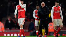 Arsenal's Gabriel Paulista looks dejected after the game