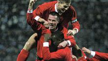 Emile Heskey celebrates with Jamie Carragher and Steven Gerrard during the UEFA Cup Fourth Round match between Marseille and Liverpool at The Velodrome, 2004