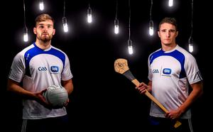 Mayo's Aidan O'Shea and Cork hurler Aidan Walsh at yesterday's launch of the ESB 'EnergyFit' programme in association with FutureFit