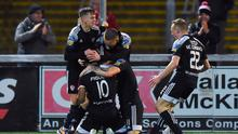 28 February 2020; Walter Figueira of Derry City, centre, celebrates with team-mates after scoring his side's second goal during the SSE Airtricity League Premier Division match between Derry City and Bohemians at the Ryan McBride Brandywell Stadium in Derry. Photo by Oliver McVeigh/Sportsfile