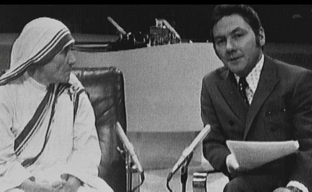 Divisive at times: Gay Byrne with Mother Teresa on 'The Late Late Show'