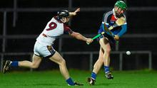 28 February 2015; Gavin O'Brien, WIT, in action against Tony Kelly, UL. Independent.ie Fitzgibbon Cup Final, University of Limerick V Waterford Institute of Technology. Gaelic Grounds, Limerick. Picture credit: Diarmuid Greene / SPORTSFILE