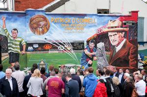 A Patrick O'Connell mural being revealed in Belfast this year (Photo: Kevin Scott/Belfast Telegraph)