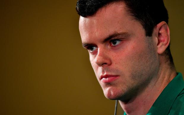 James Ryan during the Ireland Rugby squad announcement, ahead of their opening Pool A game against Scotland, at the Yokohama Bay Sheraton Hotel and Towers in Yokohama, Japan. Photo by Brendan Moran/Sportsfile