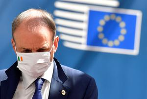 Taoiseach  Micheál Martin leaves after the first face-to-face EU summit since the COVID-19 outbreak, in Brussels, Belgium July 19, 2020. John Thys/Pool via REUTERS