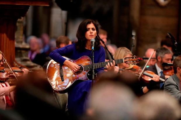Katie Melua performing at a memorial service in London's Westminster Abbey last Tuesday