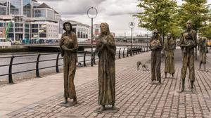 FAMINE STATUES IN THE DUBLIN DOCKLANDS: The Famine in the 19th century supercharged a tradition of emigration in Ireland