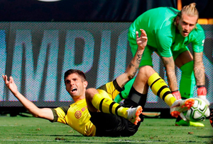 PRESSURE: Liverpool goalkeeper Loris Karius endured another disappointing 90 minutes during the International Champions Cup match against Borussia Dortmund in Charlotte. Photo: Chuck Burton/AP