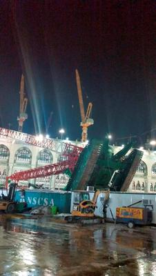 Damage caused by a collapsed crane is seen in the Grand Mosque in the Muslim holy city of Mecca, Saudi Arabia September 11, 2015. At least 107 people were killed when the crane toppled over at Mecca's Grand Mosque on Friday, Saudi Arabia's Civil Defence authority said, less than two weeks before Islam's annual haj pilgrimage. REUTERS/Saudi News Agency/Handout via ReutersATTENTION EDITORS - THIS IMAGE HAS BEEN SUPPLIED BY A THIRD PARTY. IT IS DISTRIBUTED, EXACTLY AS RECEIVED BY REUTERS, AS A SERVICE TO CLIENTS. REUTERS IS UNABLE TO INDEPENDENTLY VERIFY THE AUTHENTICITY, CONTENT, LOCATION OR DATE OF THIS IMAGE. FOR EDITORIAL USE ONLY. NOT FOR SALE FOR MARKETING OR ADVERTISING CAMPAIGNS. NO SALES.      TPX IMAGES OF THE DAY