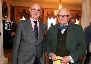 16/4/13 Bob Joyce and Bruce Arnold at the book launch/birthday party for Brendan Kennelly in the Shelbourne Hotel, Dublin. Picture:Arthur Carron/Collins