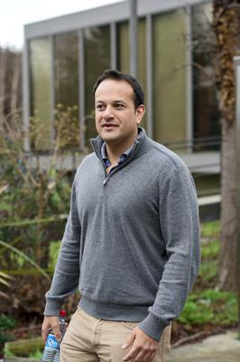 Minister for Health Leo Varadkar leaving RTE Radio studios this morning after his interview with Miriam O'Callaghan.  Pic: El Keegan
