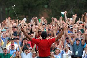 Tiger Woods celebrates after winning the 2019 Masters. The 2020 Masters at Augusta, now rescheduled for November, will become part of the PGA Tour's 2020/21 season. Photo: REUTERS/Mike Segar