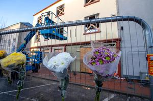 Flowers placed for Tom Ross, who died when part of a building collapsed on Ashe Street in Tralee