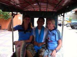 """""""Up the Dubs!"""" from Laura, Dav and Mr Sna in Cambodia."""