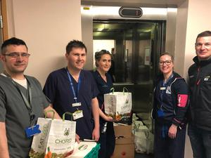 Hard-working staff in St James' Hospital with Feed the Heroes helpers