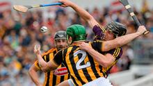Kilkenny's Paul Murphy gets to grips with Liam Óg McGovern of Wexford at Nowlan Park