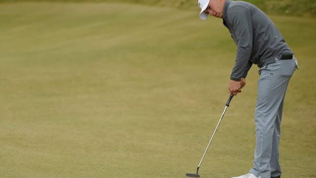 Jordan Spieth putts on the 10th green in the second round of the 2015 U.S. Open golf tournament at Chambers Bay.