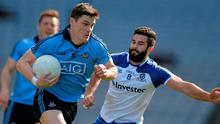 Diarmuid Connolly, Dublin, in action against Neil McAdam, Monaghan