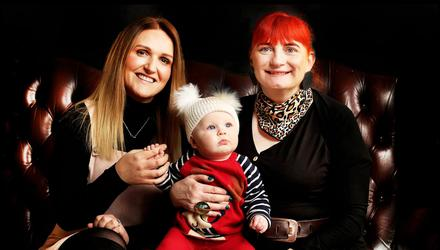 Friends Elaine Murphy with her baby Iris Murphy Walsh (10 Months) and Laura Sutton who is a surrogate and 'tummy mummy' to Iris. Photo by Steve Humphreys