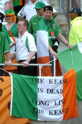 A sign hung in the stadium by Republic of Ireland fans at the game against Cameroon. FIFA World Cup Finals, Group E, Big Swan Stadium, Niigata, Japan. Picture credit; David Maher / SPORTSFILE *EDI*