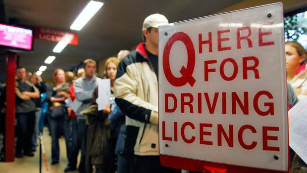LINING UP: Learner drivers queue for their driving test applications in Cork County Hall. Picture: Provision