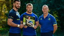 Stuart Lancaster, Sean O'Brien and Mick Kearney were at Leinster Rugby head office yesterday with a picture of Liam Hagan, a lifelong Leinster fan, who was born with EB (epidermolysis bullosa). Leinster Rugby charity partners DEBRA Ireland and had nominated eight-year-old Liam from Monaghan to be a Leinster mascot at the Connacht Rugby game this Friday evening. Tragically Liam passed away suddenly only two weeks ago. Liam's place will now be taken by his best friend and cousin, Adam McCormick who will walk out at the RDS in Liam's honour. Photo by Matt Browne/Sportsfile