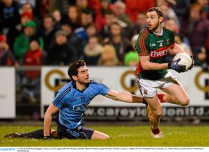 14 March 2015; Keith Higgins, Mayo, in action against Bernard Brogan, Dublin. Allianz Football League Division 1 Round 5, Mayo v Dublin. Elverys MacHale Park, Castlebar, Co. Mayo. Picture credit: Piaras ? M?dheach / SPORTSFILE