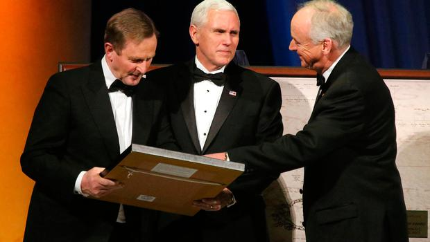 Ireland Funds Dinner, Washington Museum.  Taoiseach Enda Kenny, US Vice President Mike Pence and John Fitzpatrick. Picture; Gerry Mooney