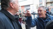 An anti-water charges protester confronts Cllr Padraig Conneely at the Radisson Blu in Galway yesterday. Photo: Andrew Downes.