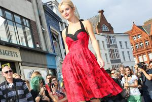 Grace from 1st Option Models modelling at Dublin Fashion festival Grafton Street Fashion show. Photography; Emily Quinn