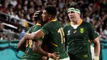 South Africa's Warrick Gelant celebrates scoring a try