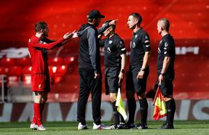 Liverpool manager Jurgen Klopp appeals to the officials