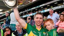 Kerry's Marc Ó Sé celebrates with his nephew Niel Ó Sé with the Sam Maguire cup. Picture credit: Brendan Moran / SPORTSFILE