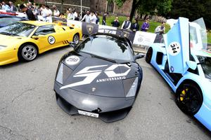 A Lamborghini sport car with the 50th anniversary logo is parked on May 7, 2013 in front of Milan's Sforza castle in Milan on the eve of the first leg of a 1,200km Grand Tour through Italy to mark the 50th anniversary of the carmaker.  (OLIVIER MORIN/AFP/Getty Images)