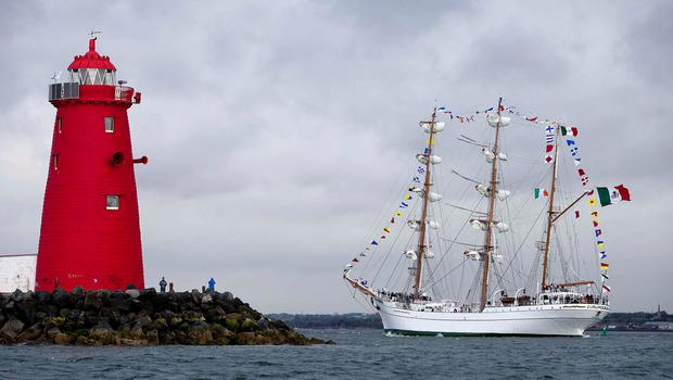 NEWS 17062015 no repro fee One of the world's most spectacular tall ships, the 270ft Cuauhtémoc owned by the Mexican Navy sailed into Dublin this morning for a 5-day visit celebrating 40 years of diplomatic relations between Ireland and Mexico. She is moored at Sir John Rogerson's Quay until Sunday and open to the public to visit free of charge.  Picture by Shane O'Neill /  Fennell Photography 2015.