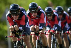 The BMC Racing team on their way to victory in the men's team time trial at the UCI Road World Championships in Spain. Photo: JAVIER SORIANO/AFP/Getty Images