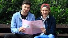 Ben Nolan and Luke Henry after sitting Leaving Cert English at the Institute of Education in Dublin. Photo: Gareth Chaney