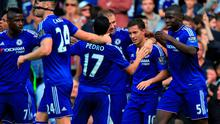 """Chelsea's Eden Hazard (second right) celebrates with his teammates after scoring his side's second goal of the game during the Barclays Premier League match at Stamford Bridge, London. PRESS ASSOCIATION Photo. Picture date: Saturday September 19, 2015. See PA story SOCCER Chelsea. Photo credit should read: John Walton/PA Wire. RESTRICTIONS: EDITORIAL USE ONLY No use with unauthorised audio, video, data, fixture lists, club/league logos or """"live"""" services. Online in-match use limited to 45 images, no video emulation. No use in betting, games or single club/league/player publications."""