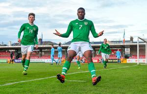 Sinclair Armstrong of Republic of Ireland celebrates scoring his side's third goal with team-mate Oliver O'Neill, left, during the UEFA Under-17 European Championship Qualifier match against Israel at Turner's Cross in Cork. Photo by Piaras Ó Mídheach/Sportsfile