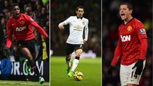 Danny Welbeck (left), Angel Di Maria (centre) and Javier Hernandez (right).