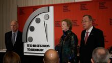 Bulletin of the Atomic Scientists handout photo of (left to right) Edmund G Brown, Mary Robinson and Ban Ki-moon during a press conference in Washington DC with The Doomsday Clock which has moved closer to midnight than it has ever been and is now just 100 seconds away from striking 12. PA Photo