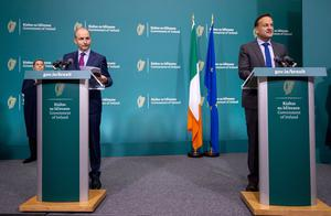 Joint effort: Taoiseach Micheál Martin and Tánaiste               Leo Varadkar at a Government briefing this week. Photo:               Julien Behal Photography/PA Wire