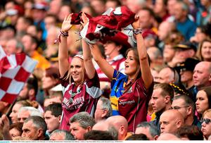 6 September 2015; Galway supporters celebrate a first half point. GAA Hurling All-Ireland Senior Championship Final, Kilkenny v Galway, Croke Park, Dublin. Picture credit: Diarmuid Greene / SPORTSFILE