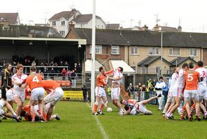 Armagh, and Tyrone during a first half incident which saw 2 red Cards issued. Bank of Ireland Dr McKenna Cup, Group C, Round 1, Armagh v Tyrone. Athletic Grounds, Armagh.