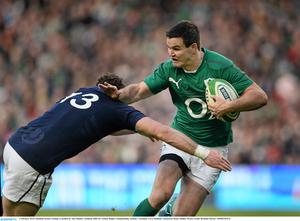 2 February 2014; Jonathan Sexton, Ireland, is tackled by Alex Dunbar, Scotland. RBS Six Nations Rugby Championship, Ireland v Scotland, Aviva Stadium, Lansdowne Road, Dublin. Picture credit: Brendan Moran / SPORTSFILE