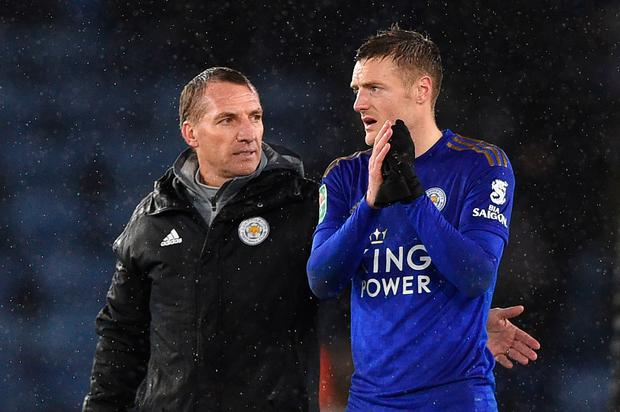 Leicester City manager Brendan Rodgers and Jamie Vardy chat at the final whistle. Photo: Getty Images